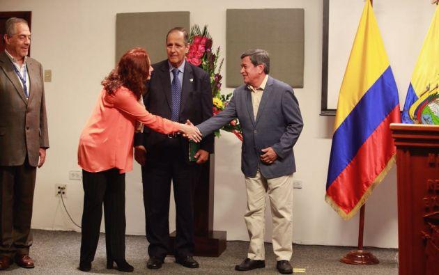 María Fernanda Espinosa, canciller de Ecuador, participó en la rueda de prensa del ELN y el gobierno colombiano.Foto: Cancillería