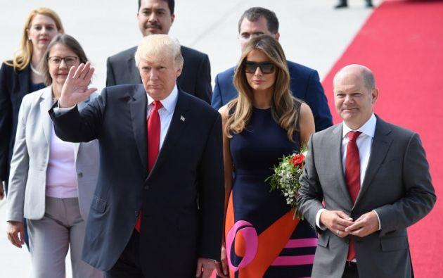 El presidente de EEUU, Donald Trump, aterrizó hoy poco antes de las 16.00 horas en Hamburgo (Alemania) para asistir mañana a la cumbre del G20. Foto: AFP