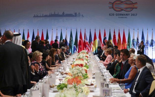 """ALEMANIA.- Donald Trump logró obtener del G20 una mención en el texto que """"toma nota"""" de la salida de Estados Unidos y le permite así seguir con su política climática. Foto: Reuters"""