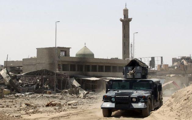 IRAK.- Desde Mosul, el primer ministro de Irak, Haider al Abadi, felicitó a las Fuerzas Armadas del país por el triunfo sobre los yihadistas. Foto: AFP
