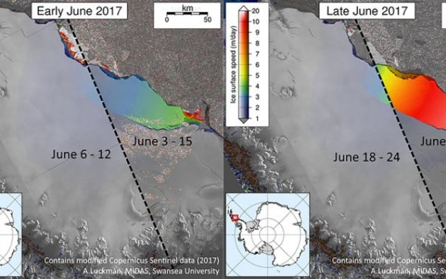 Esta ilustración muestra la grieta en el segmento Larsen C de la Antártida, fotografiado en junio de 2017, y cómo lucía en junio del año pasado. Foto: AFP