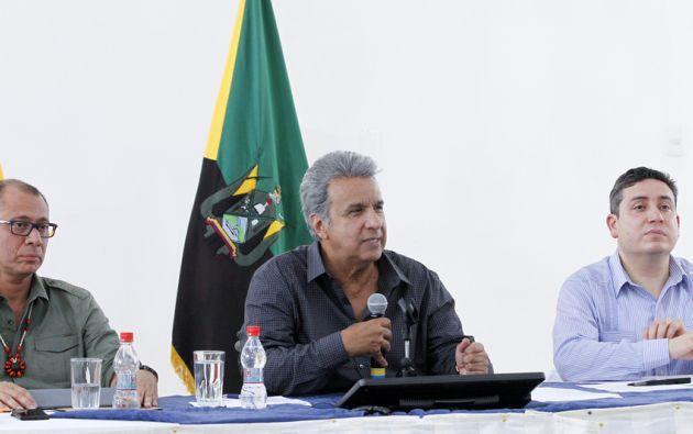 El presidente Lenín Moreno, habló por primera vez sobre el pedido de juicio político al vicepresidente Jorge Glas. Foto: Secom
