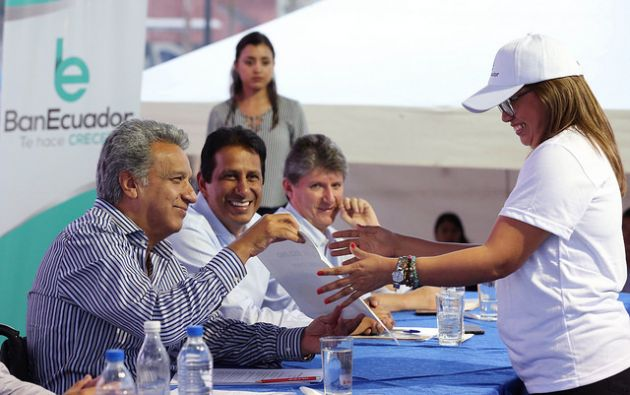 """Moreno: """"el banco del pueblo no es un edificio de cemento, es un abanico de productos financieros"""". Foto: Flickr Presidencia"""