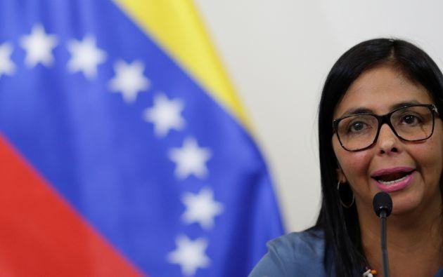 """Venezuela no tiene cómo hacer el pago de esos bienes esenciales para la población venezolana. ¿Por qué? Porque hay un bloqueo financiero contra el país"""", dijo Rodríguez. Foto: Reuters"""