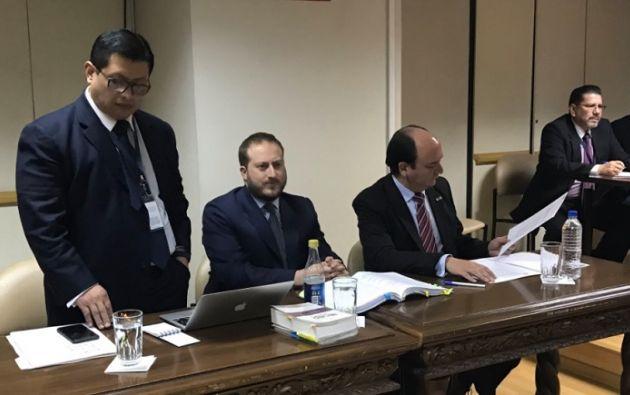 El fiscal general, Carlos Baca Mancheno, presentó 26 elementos de convicción que demostrarían la culpabilidad del investigado. Foto: Fiscalía