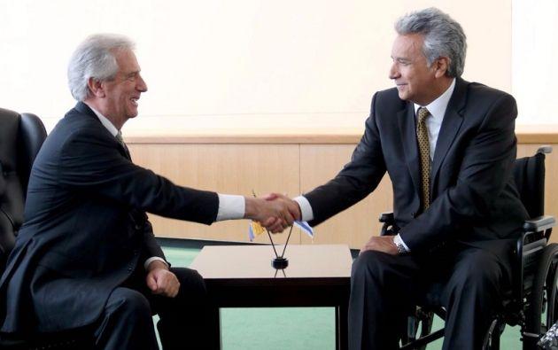 El Presidente se reunió oficialmente con los mandatarios de Uruguay, Tabaré Vázquez y de Costa Rica, Guillermo Solís. Foto: SECOM