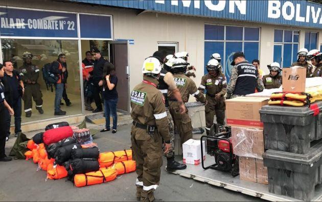 Según la SGR, la fuerza de tarea esta conformada por 30 miembros de los Beneméritos Cuerpos de Bomberos de Guayaquil y Quito. Foto: Bomberos