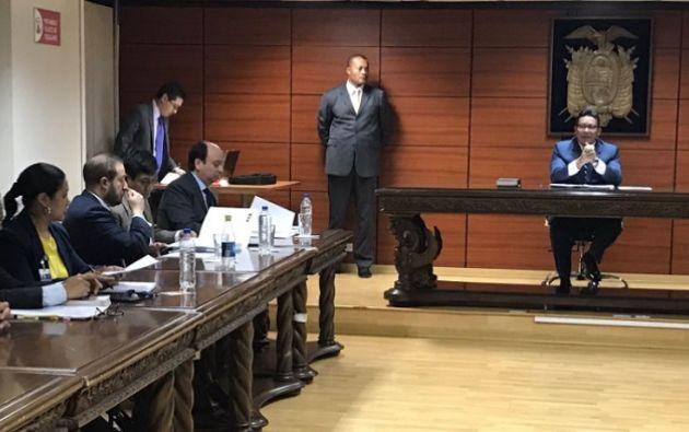 Loor manifestó que espera que en la audiencia de preparación del juicio, el próximo lunes 16 de octubre, la Fiscalía o el juez de la causa absuelvan completamente a su defendido. Foto: Fiscalía