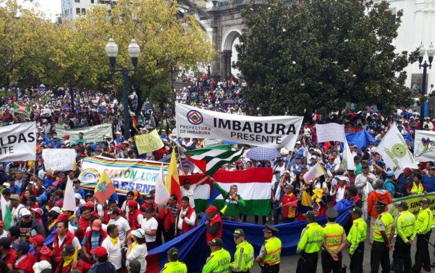 GAD's Parroquiales, Cantones y Prefecturas presentes en la Plaza de la Independencia. Foto: Gobierno Pichincha
