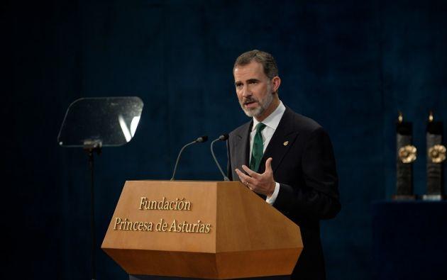 """""""No queremos ni podemos renunciar a lo que juntos hemos construido"""", dijo el monarca en la entrega de los premios Princesa de Asturias. Foto: Reuters"""