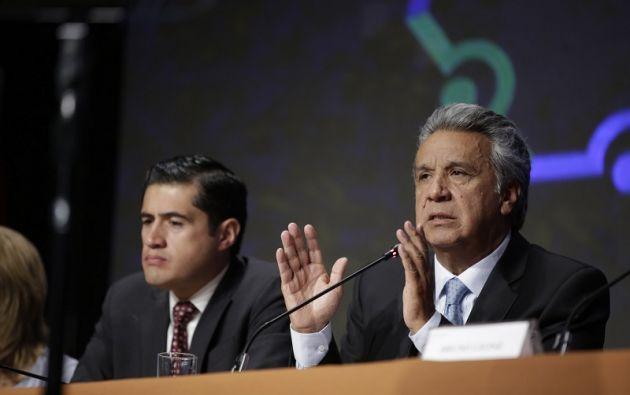 """""""Seguiremos en este intento de reducir el gasto del Estado, por favor reconozcan el esfuerzo"""", solicitó Moreno. Foto: Presidencia"""