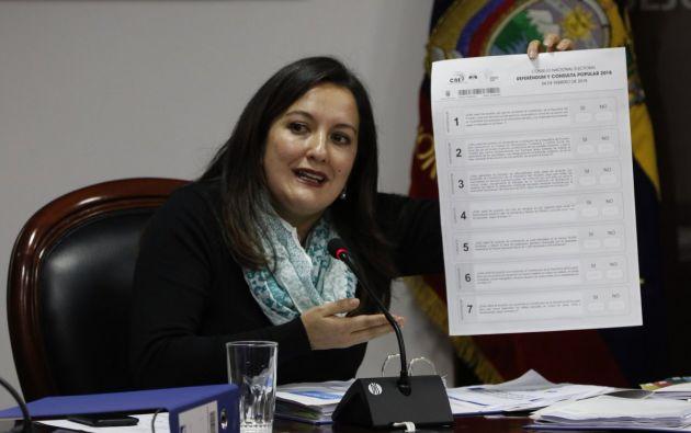 Ana Marcela Paredes informó que pedirán a la Union Europea que integre un grupo de observadores internacionales. Foto: CNE