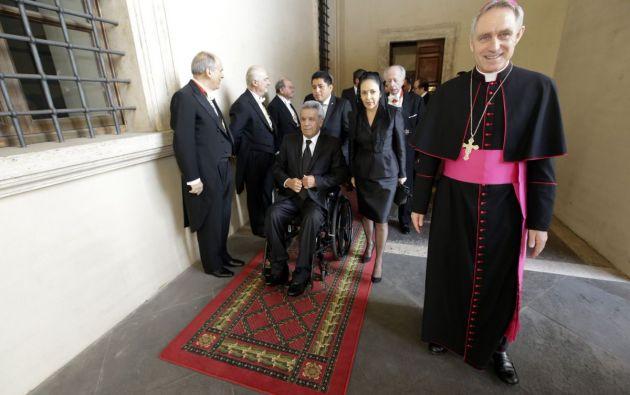 El presidente Lenín Moreno, abandonará hoy Italia después de reunirse en el Vaticano con el papa Francisco y de mantener un encuentro con inmigrantes ecuatorianos. Foto: Presidencia Ecuador
