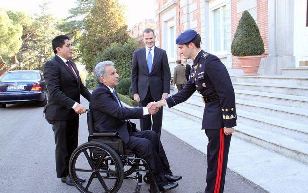 Los ministros de Exteriores de España, Alfonso Dastis, y de Ecuador, María Fernanda Espinosa, y los respectivos embajadores, asistieron a la reunión. Foto: Presidencia