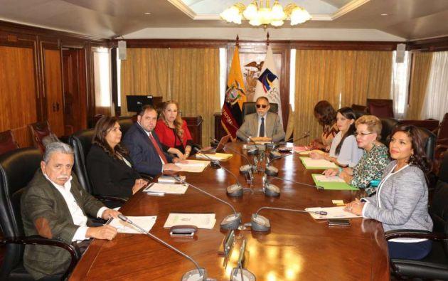 Las causas en la Corte Constitucional son pública, pero el presidente del organismo, Alfredo Ruiz, declaró privada la reunión. Foto: Corte Constitucional