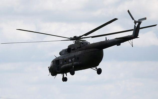 El aparato, un MI-17 con matrícula EJC 3380, se precipitó a tierra cuando trasladaba personal de la Aviación del Ejército. Foto: AFP