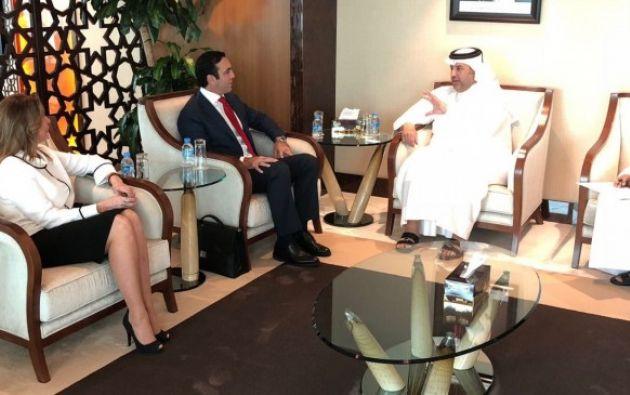 El ministro de Comercio Exterior e Inversiones, Pablo Campana Sáenz, se reunió con el ministro de Comercio y Economía de Catar, Ahmed Bin Jassim Al Thani. Foto: Ministerio Comercio Exterior