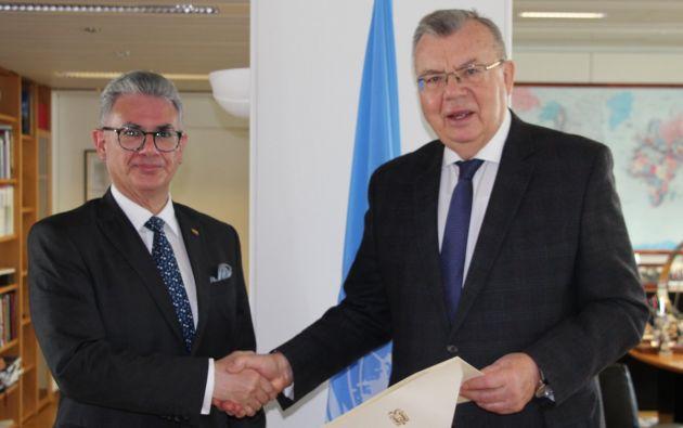 Yury Fedotov, Director General de la Oficina de las Naciones Unidas en Viena, dio la bienvenida a Játiva. Foto: Twitter