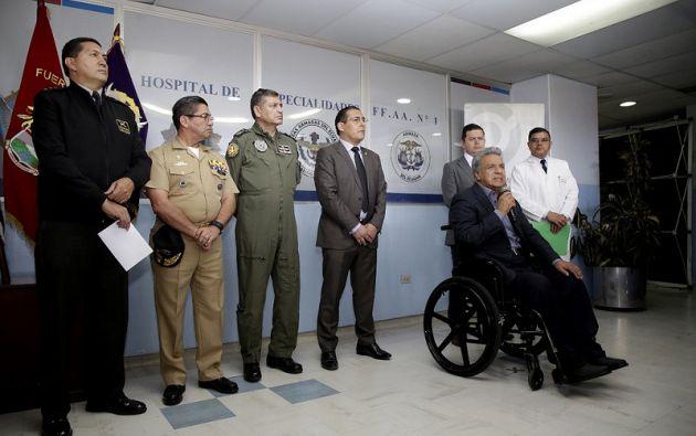 Moreno cuestionó la filtración de las fotografías de las extremidades amputadas de uno de los infantes de marina, por lo que solicitó sanciones urgentes para los responsables. Foto: Presidencia