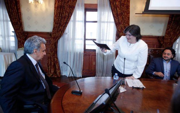"""""""El día lunes en el informe semanal que doy al Ecuador expondré las líneas gruesas de este plan económico"""", anunció Moreno. Foto: Min. Finanzas"""