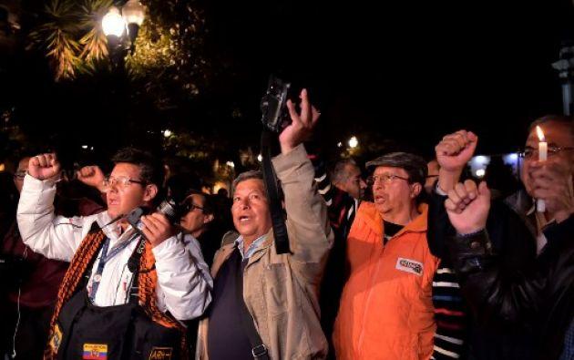 """""""Que se sigan sumando muchas (personas) más. Estaremos todos los días desde las siete de la noche hasta que nuestros familiares regresen"""", dijo un portavoz. Foto: AFP"""