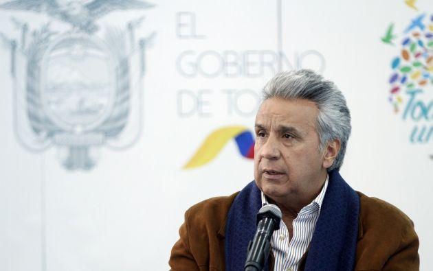 """""""Nos faltan tres y vamos a hacer que Xavier, Paúl y Efraín regresen con vida, es nuestra alta prioridad nacional"""", afirmó Moreno. Foto: Presidencia"""