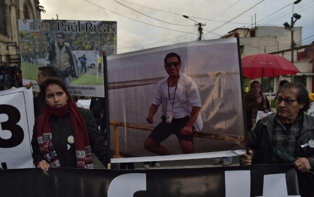 El reportero Ortega, el fotógrafo Rivas y el conductor Segarra habrían sido secuestrados el 26 de marzo por disidentes de la exguerrilla de las FARC. Foto: AFP