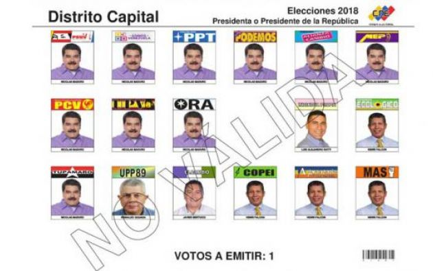"""El Consejo Nacional Electoral presentó el """"tarjetón"""". Foto: Tomada de la página web del Consejo Nacional Electoral de Venezuela"""