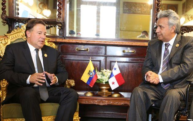 Varela y Moreno se reunieron el martes en la capital costarricense en el marco de la toma de posesión de Carlos Alvarado. Foto: Presidencia