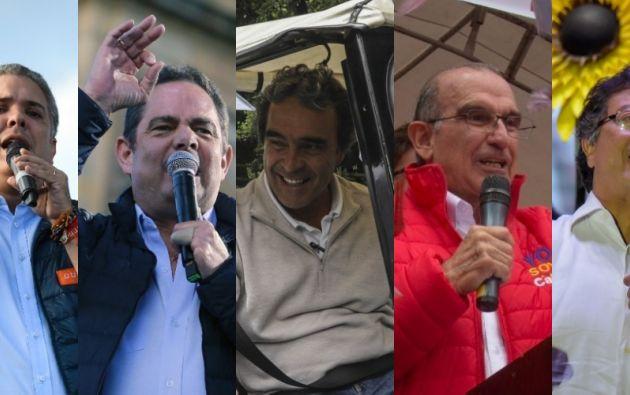 Iván Duque, Germán Vargas, Sergio Fajardo, Humberto de la Calle y Gustavo Petro. Foto: Collage Vistazo