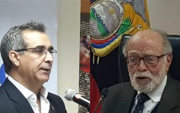 Trujillo le exigió a Jalkh que se sentara junto a los vocales de la Judicatura, pero este se negó. Foto: Collage Vistazo