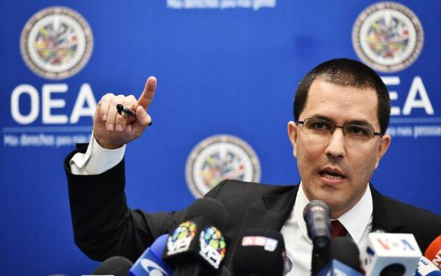 """El canciller venezolano, Jorge Arreaza, consideró que el proceso para aprobar la resolución ha sido """"un circo"""" orquestado por Washington. Foto: AFP"""
