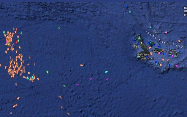 """La Armada se mantiene """"alerta para hacer respetar la soberanía de Ecuador"""". Foto: Marinetraffic.com"""