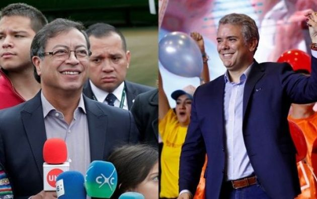 El izquierdista Petro y el uribista Iván Duque, del partido Centro Democrático, disputarán mañana la Presidencia. Foto: Reuters
