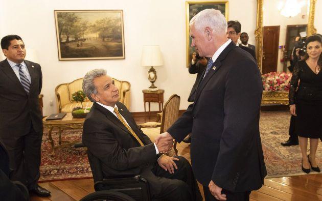 El vicepresidente estadounidense tratará con Moreno la crisis de Venezuela, así como temas sobre seguridad, defensa y comercio. Foto: @USAemPortugues