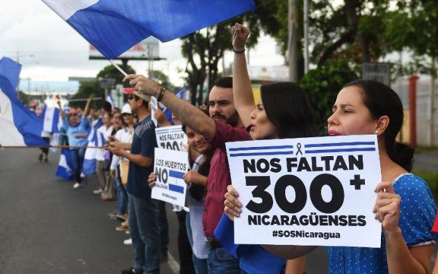 Nicaragua lleva más de dos meses envuelta en una crisis política que ha dejado unos 310 muertos. Foto: AFP