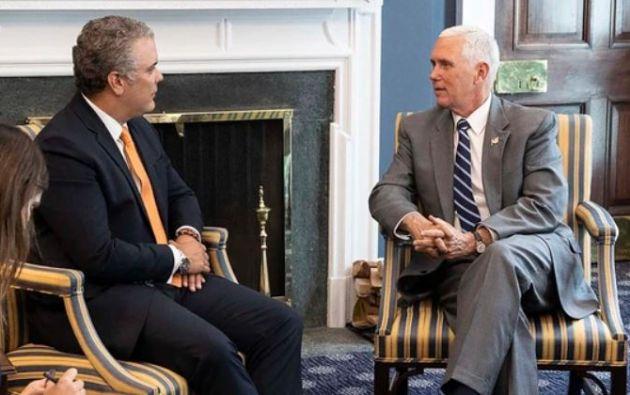 Iván Duque junto a Mike Pence Foto: Twitter @VP