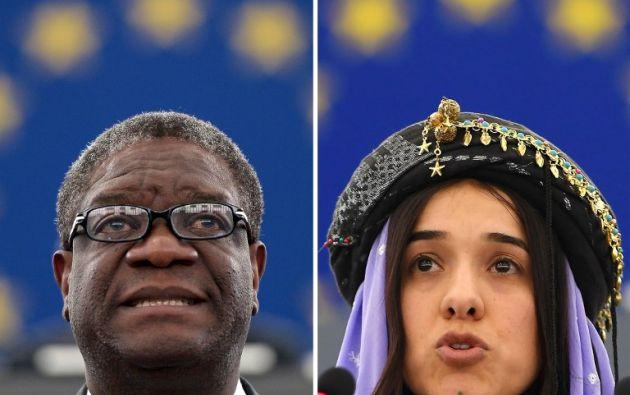 Denis Mukwege, ginecólogo de 63 años, y Nadia Murad, víctima de 25 y convertida en portavoz de la causa de las mujeres. Foto: AFP