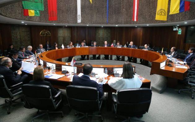 Participaron los ministros de Exteriores de Bolivia, Diego Pary; Colombia, Adriana Mejía; Ecuador, José Valencia; y de Perú, Néstor Popolizio. Foto: @CancilleriaEc