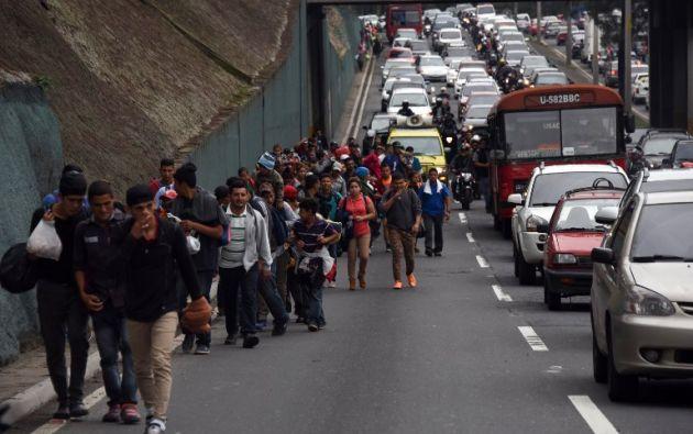La caravana partió el sábado de San Pedro Sula, en el norte de Honduras, tras una convocatoria hecha por las redes sociales. Foto: AFP