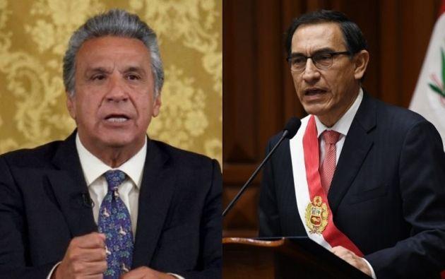 Presidente de Ecuador, Lenín Moreno, y de Perú, Martín Vizcarra. Foto: Collage Vistazo
