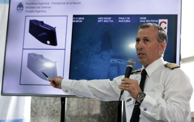El portavoz de la Marina argentina, Enrique Balbis, habló durante una conferencia de prensa sobre el hallazgo de los restos del submarino. Foto: AFP