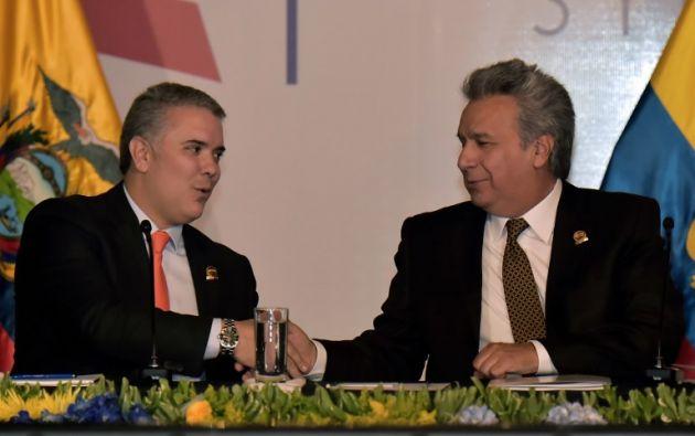 Los presidentes de Ecuador, Lenin Moreno, y Colombia, Ivan Duque, en la VII reunión de Gabinete Binacional. Foto: AFP