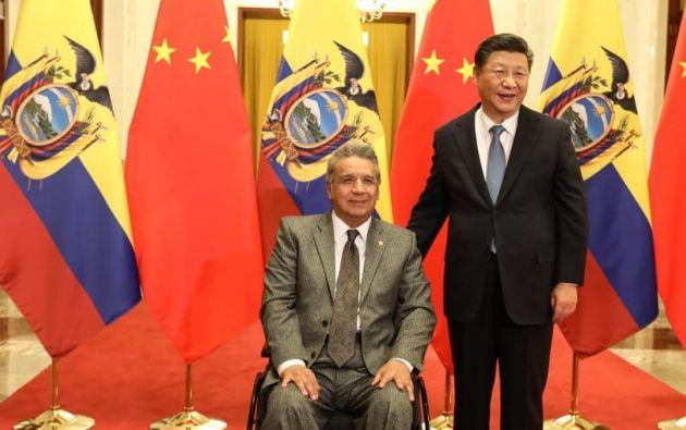Moreno se reunió con su homólogo chino, Xi Jinping, en el Palacio del Pueblo de Pekín. Foto: Twitter @Lenin