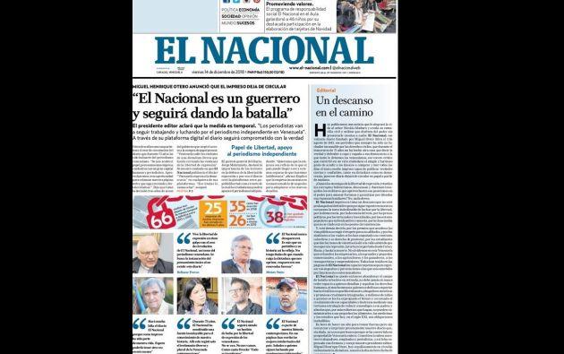 Última portada de 'El Nacional'.