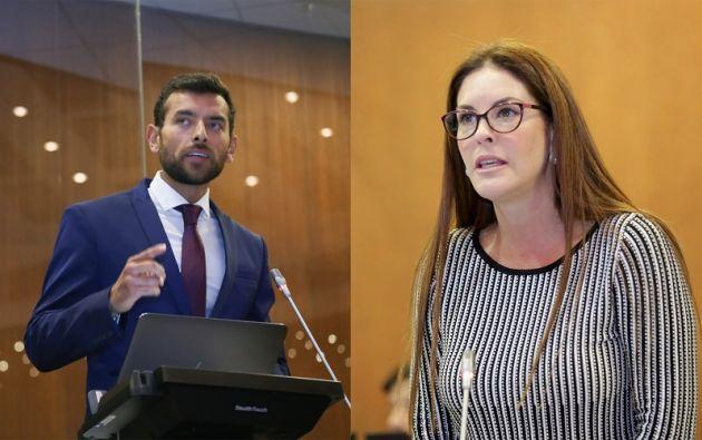 Sebastián Palacios y María Mercedes Cuesta, durante el debate en la Asamblea. Fotos: Asamblea Nacional.