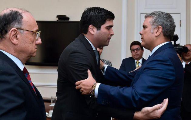 Otto Sonnenholzner con el presidente colombiano, Iván Duque. Foto: @Vice_Ec