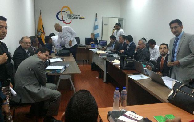 La diligencia se realiza en la Unidad Judicial Alban Borja con presencia de las partes procesales. Foto: @FiscaliaEcuador
