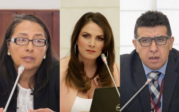 Carmen Alvarado, Ana Galarza y Omar Mayorga en su comparecencia ante la Comisión. Foto: Collage Vistazo