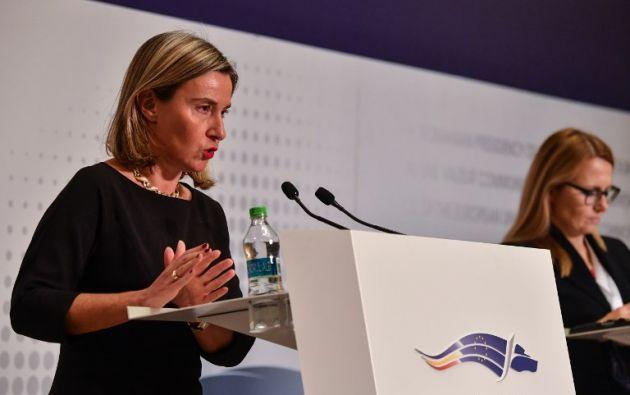 """La UE busca ahora """"crear confianza y crear las condiciones para que surja un proceso creíble"""" conducente a elecciones, dijo Mogherini. Foto: AFP"""
